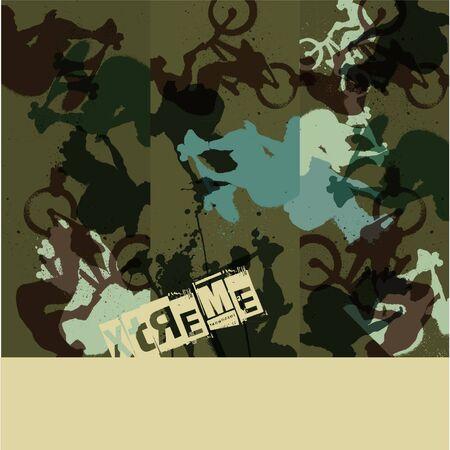 inline skate: Graffiti WallPaper Illustration