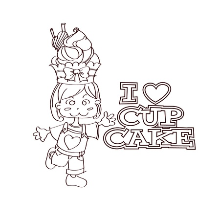 Cup-cake lady outline Vector