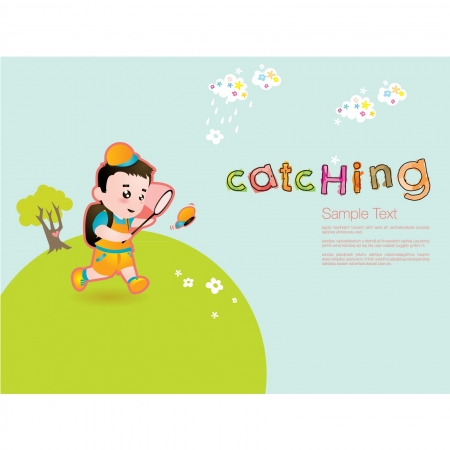 Kid Catching Butterfly Vector