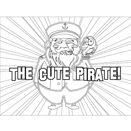 Outlined Cute Captain Pirate Vector