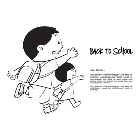 Back to School Brother   Sister Vector