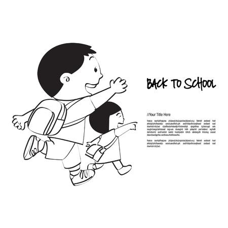 addio: Torna a scuola Fratello Sorella Vettoriali