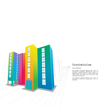 condominium: Colourful Condominium Illustration