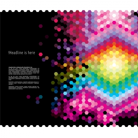 colorful pixellate hexagon design template Vector