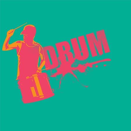 contempory: Drummer in vector format