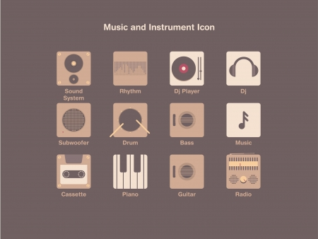Music and Instrument Icon Vector