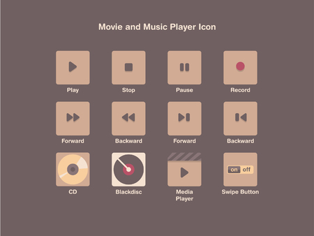 Movie and Music player Icon Vector