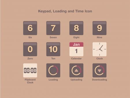 flipboard: Loading, keypad and time icon