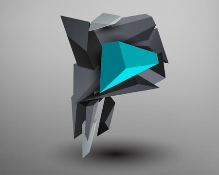 prisma: Prisma 3D de fuente - p Vectores
