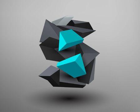 metals: 3D Prism Font - s