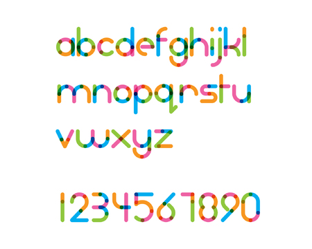 letters alphabet: overlapping colorful rounded line font - regular