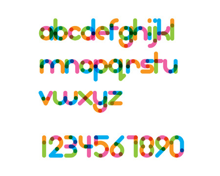 rounded: overlapping colorful rounded line font - bold