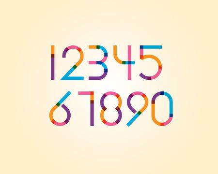 converge: overlapping colorful sharp edge line font - regular numeric Illustration