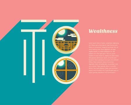 wealth: Wealthness in window. Translation : fu  wealth