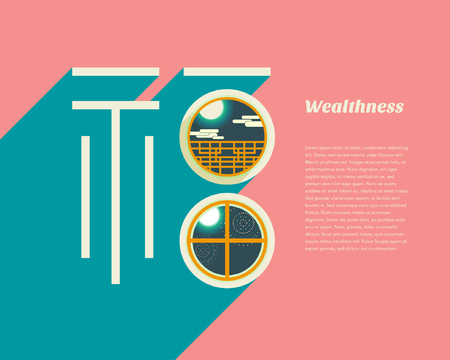 Wealthness in window. Translation : fu  wealth