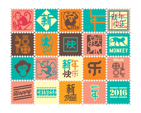 wealth: Urban Modern Chinese New Year Stamp. Translation : Happy Chinese New Year - Monkey Year.