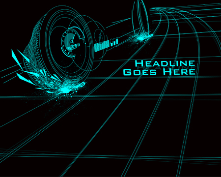 Speed Design Template with Tron Effect Illustration