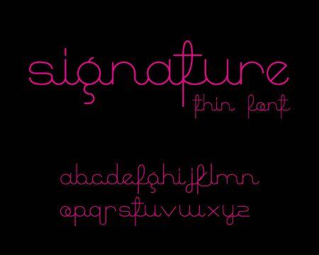 typography signature: Signature Font - Thin