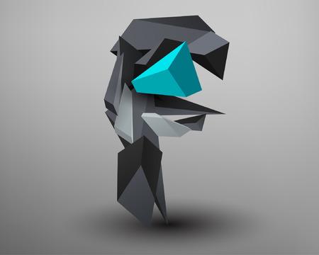 prisma: 3D Prism Font - F Vectores