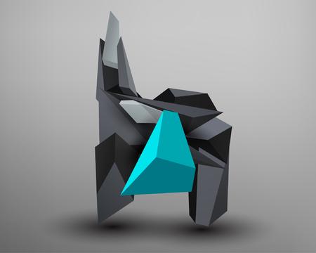 prism: 3D Prism Font - H Illustration