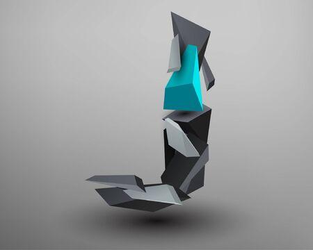 prism: 3D Prism Font - J