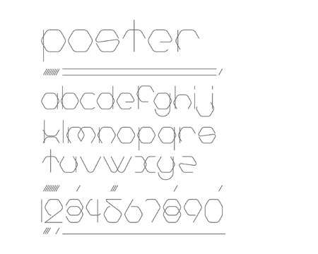 regular: Hexagon Urban Font - regular Illustration