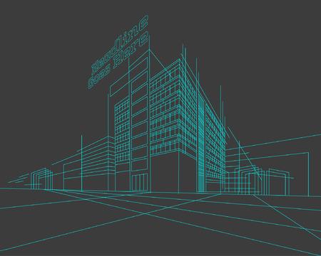 Perspectief 3d Wireframe van het gebouw Stock Illustratie