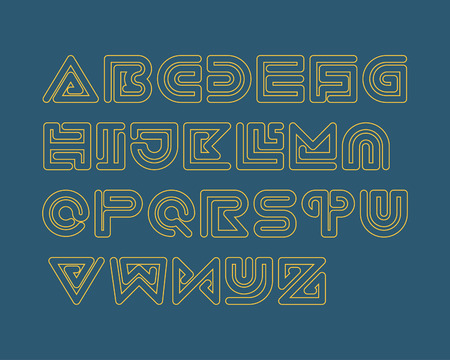 outlined: Snake Stripe Font Set. Outlined Illustration