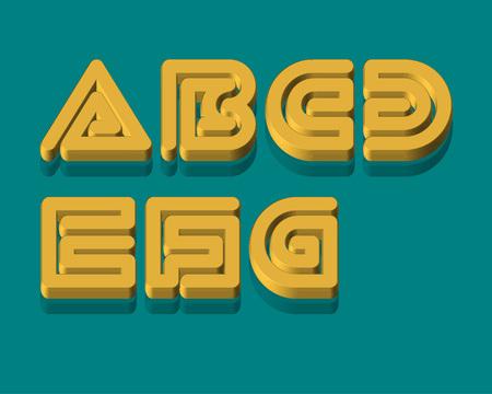3d snake: 3D Snake Stripe Font Set. A,B,C,D,E,F,G Illustration