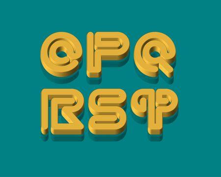 3d snake: 3D Snake Stripe Font Set. O,P,Q,R,S,T