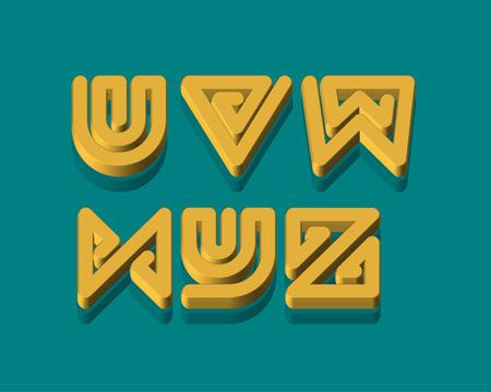 3d snake: 3D Snake Stripe Font Set. U,V,W,X,Y,Z