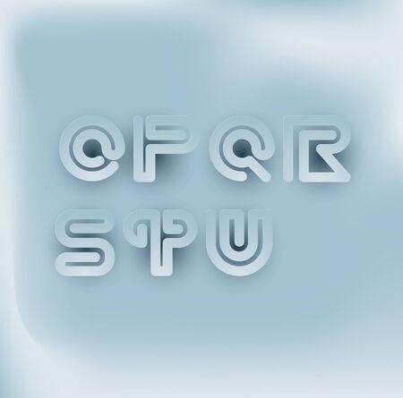 u s: 3D Paper-cut Snake Stripe Font Set. O,P,Q,R,S,T,U