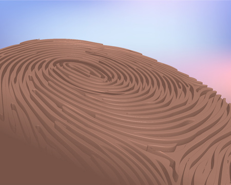 odcisk kciuka: 3D Thumbprint wektorowe Ilustracja