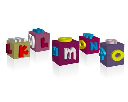 rainbow colors: 3D Fun and Cute cube font - klmno Illustration