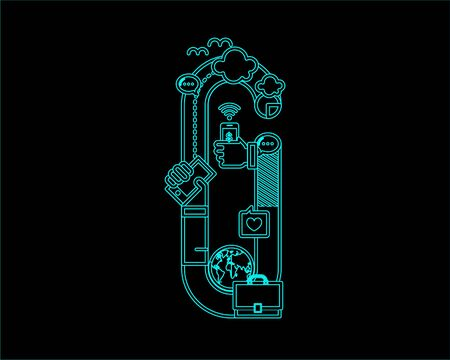 convergence: neon font icon typeface - G Illustration