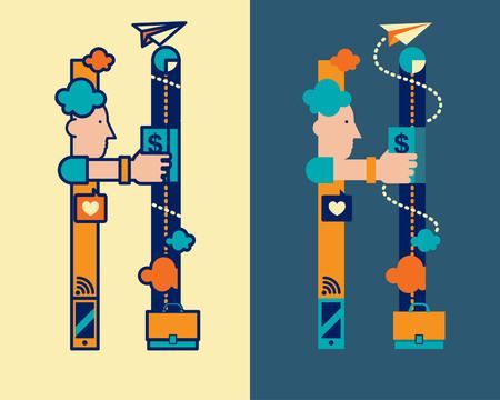 convergence: fonticon typeface - H Illustration