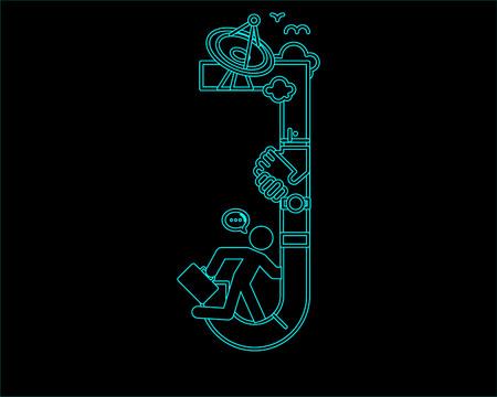 lineas decorativas: neón icono de fuente de letra - J