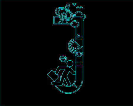 decorative lines: neon font icon typeface - J
