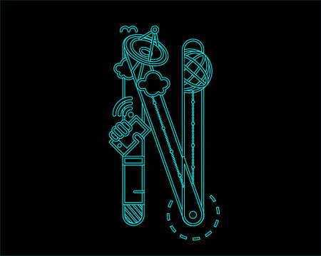 convergence: neon font icon typeface - N Illustration