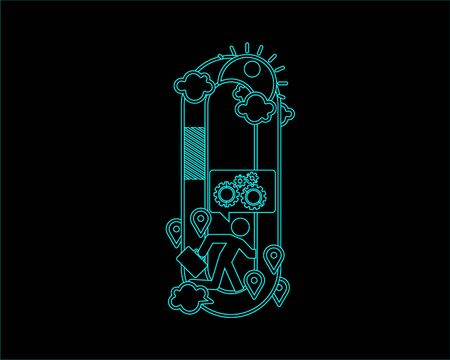 typeface: neon font icon typeface - O Illustration