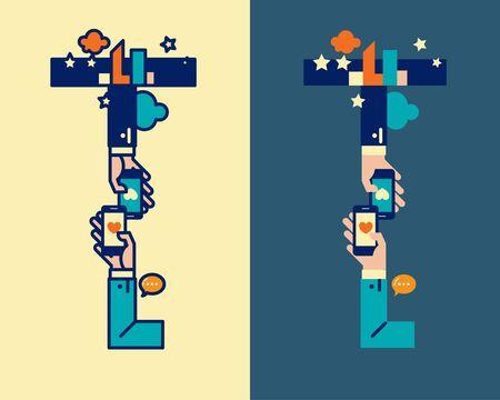 convergence: fonticon typeface - T Illustration