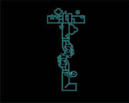 typeface: neon font icon typeface - T Illustration