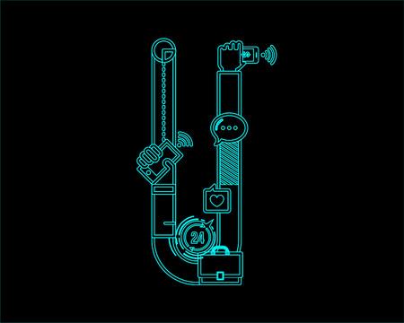 convergence: neon font icon typeface - U Illustration