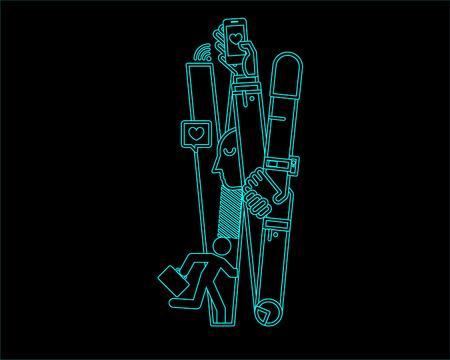 typeface: neon font icon typeface - W