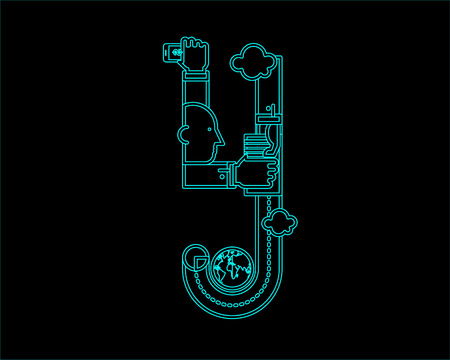 convergence: neon font icon typeface - Y Illustration