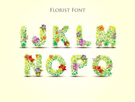 blooms: Fresh grass alphabet with blooms in vector - Florist Font Illustration