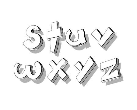 playfull: vector of stylized playful doodle alphabets