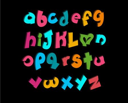 playfull: 3-D vector of stylized playful alphabets