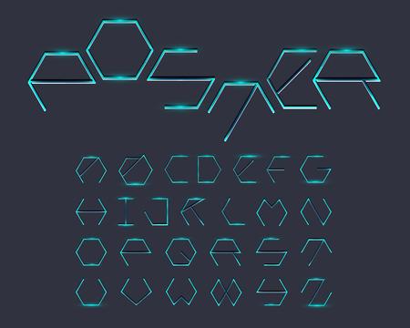cubical: Hexagon Font - Thin Glow Illustration