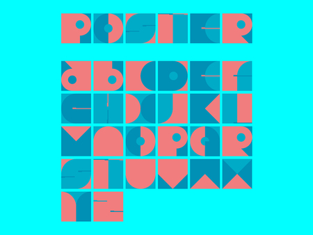 Abstract Square Font Set Illustration
